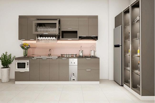 Tủ bếp inox cánh kính màu xám