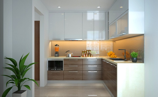 Tủ bếp inox giả gỗ