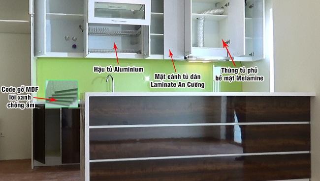 Cấu tạo tủ bếp Laminate