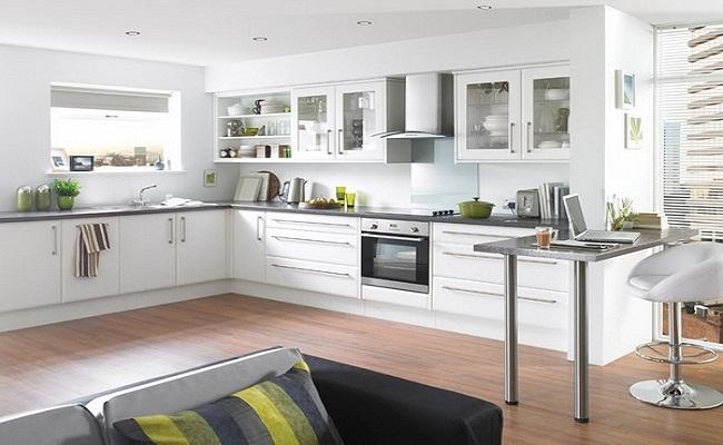 Tủ bếp màu trắng đẹp