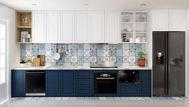 Tủ bếp màu trắng xanh