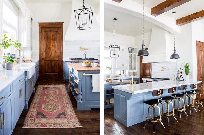Tủ bếp màu xanh dương phong cách châu Âu