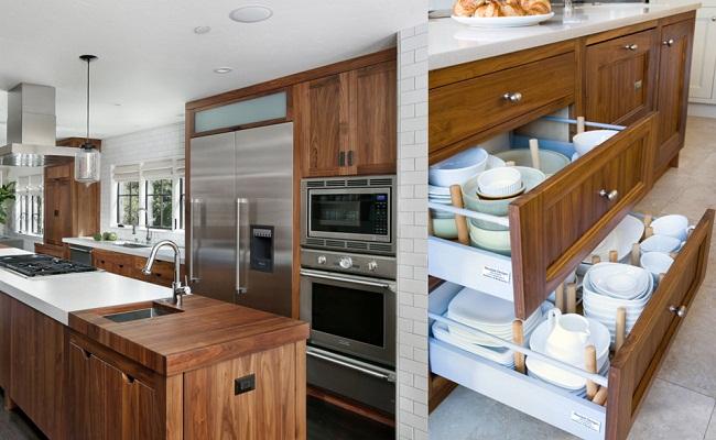 Tủ bếp nên dùng gỗ công nghiệp hay gỗ tự nhiên?