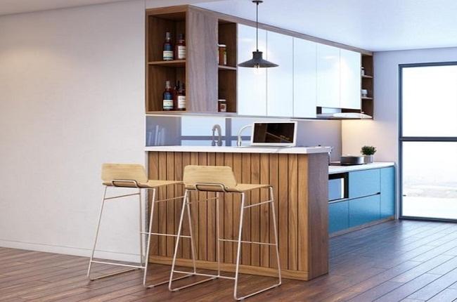 Tủ bếp mini kèm bàn đảo và tủ rượu