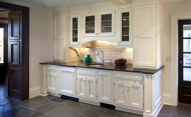 Tủ bếp nhỏ sơn trắng