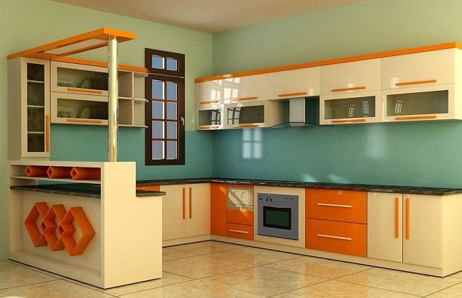 Tủ bếp nhôm kính cường lực  tông màu cổ điển