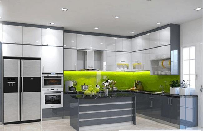 Tủ bếp nhôm kính cường lực hiện đại
