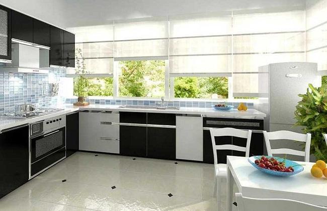 Tủ bếp nhôm kính cường lực có cửa sổ