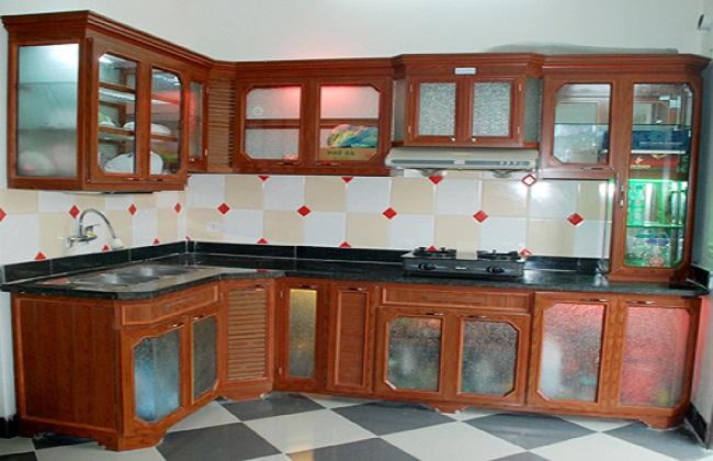 Thiết kế tủ bếp nhôm kính giả gỗ