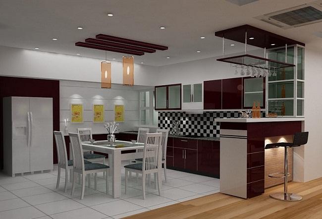 Tủ bếp nhôm kính hiện đại có quầy bar