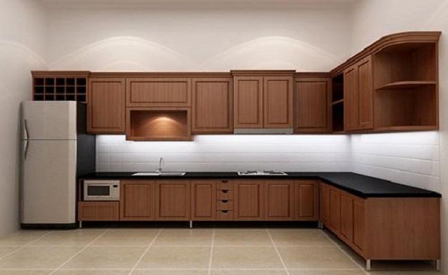 Tủ bếp nhôm kính hiện đại giả gỗ