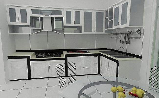 Tủ bếp nhôm kính hiện đại màu trắng sứ