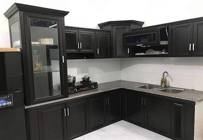 Tủ bếp nhôm kính hiện đại sơn tĩnh điện