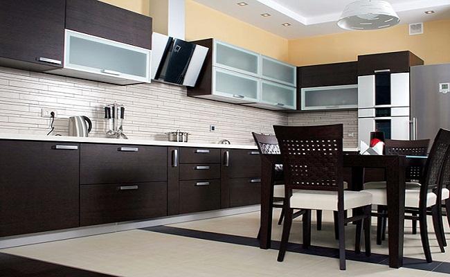 Tủ bếp nhôm kính hiện đại