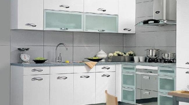 Tủ bếp nhôm kính trắng hiện đại