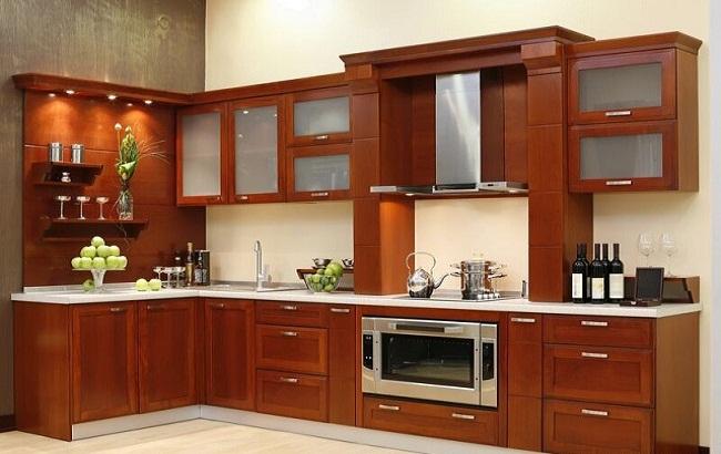 Mẫu tủ bếp nhôm vân gỗ đẹp sang trọng