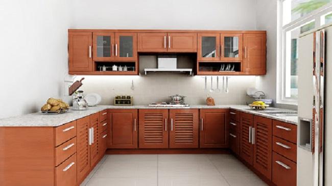 Mẫu tủ bếp nhôm kính vân gỗ chữ U