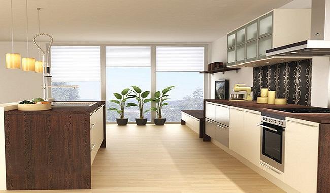 Tủ bếp nhôm kính vân gỗ song song