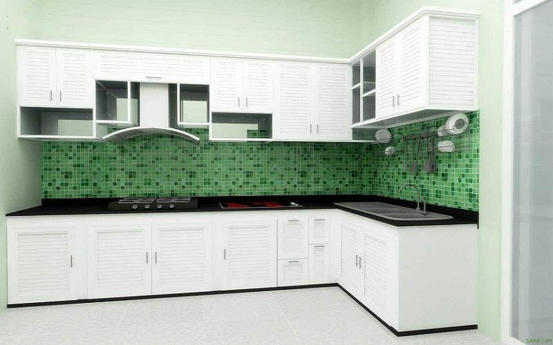 Tủ bếp nhôm trắng cao cấp