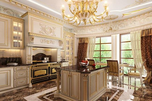 Mẫu tủ bếp phong cách tân cổ điển đẹp