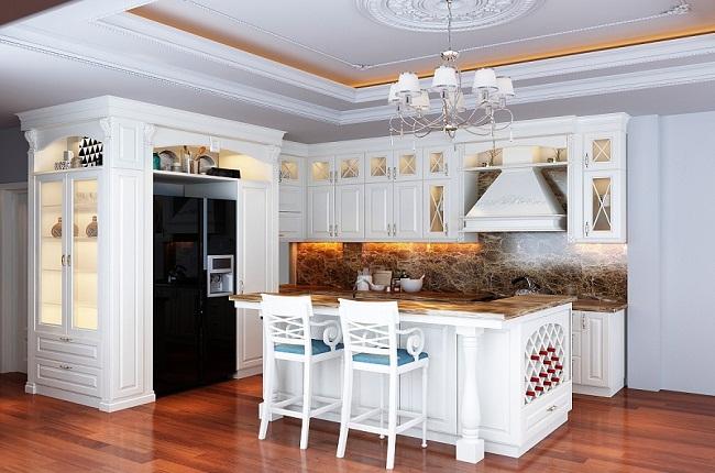 Mẫu tủ bếp phong cách tân cổ điển cho nhà bếp đẹp hút hồn