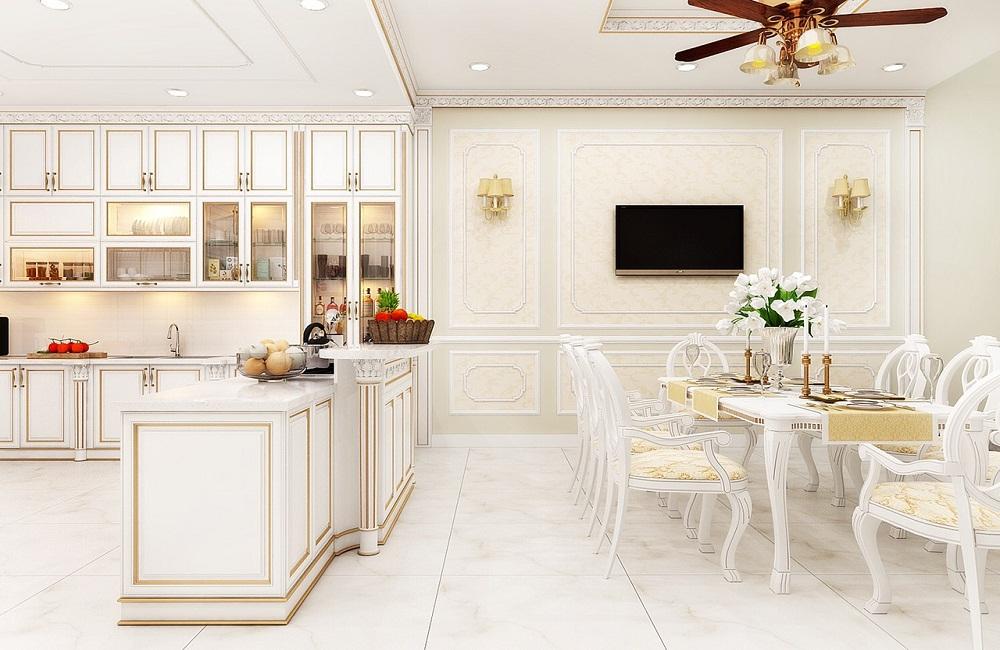 Tủ bếp sơn trắng phong cách tân cổ điển cho gia đình