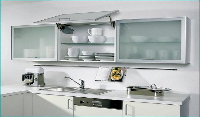 Tủ bếp treo tường bằng nhôm kính
