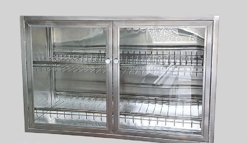 Tủ bếp treo tường bằng inox và kính