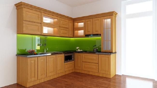 Tủ bếp veneer gỗ sồi